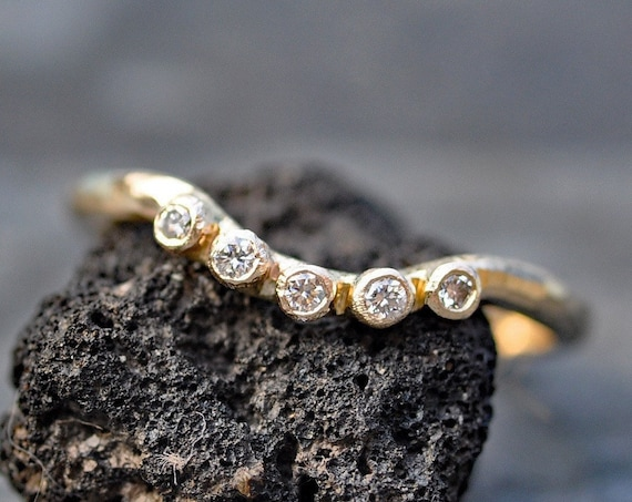 Diamond Gold Wave Engagement Stacking Ring in Recycled 14k 18k White, Rose, or Yellow Gold