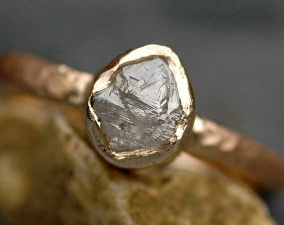 Large Raw Rough Diamond on Recycled Gold Band- Custom Made Rough Uncut Stone Engagement Ring in Recyled 14k or 18k Gold
