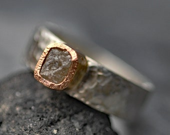 Conflict-free Rough Cube Diamond Ring in 14k Yellow Gold and Hammered Sterling Silver