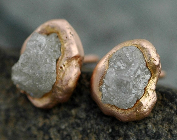 Raw Diamonds in Reticulated 14k Rose Gold Post Earrings- Limited Edition Ready to Ship