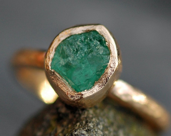 Rough Raw Colombian Emerald Engagement Ring in Recycled 14k or 18k Yellow, Rose, or White Gold Ring- Hammered Band- Made to Order