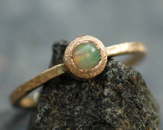Ethiopian Opal in Recycled 14k Yellow Gold Ring Size 7.5 Ready to Ship