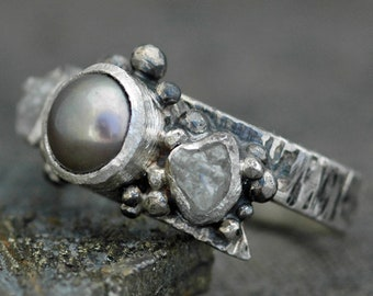 Raw Rough Diamonds and Steel Grey Pearl in Textured Sterling Silver Ring- Custom Made