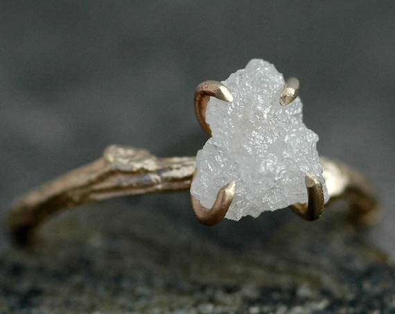 Engagement Rough Diamond and 14k Gold Branch Ring- Twig Band, Custom Made Wedding or Engagement Ring in Yellow, White, or Rose Gold