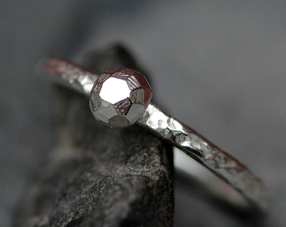 Alternative Diamond Engagement Ring- Thick Hammered Sterling Silver Ring with Silver Diamond- Ready to Ship