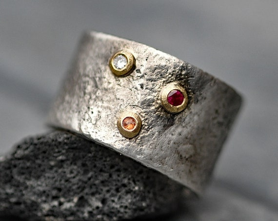 White Diamond, Orange Sapphire, and Ruby on 18k Yellow Gold and Oxidized Reticulated Sterling Silver Size 8.5 Ready to Ship