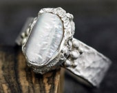 Baroque Biwa Pearl in Textured Sterling Silver Ring