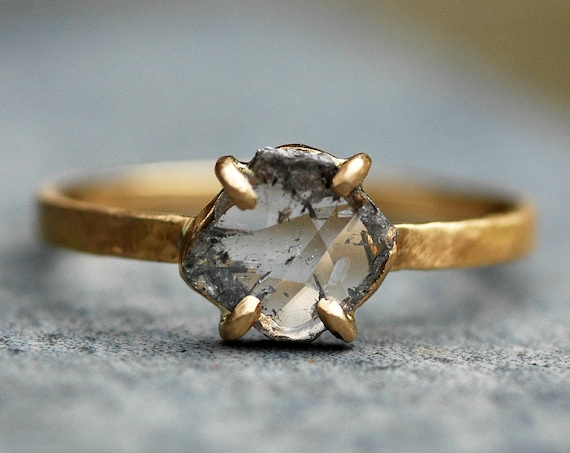 Large Diamond Slice in Recycled 18k and 14k Yellow Gold Ring- Built to Order Engagement Ring