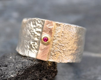 Ruby in Yellow Gold, Rose Gold Sterling Silver Reticulated Wide Band Size 9 3/4- 10 Ready to Ship