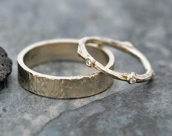 Recycled 14k Yellow Rose White Gold Wedding Band Set-  Birch Bark and Twig with Cut Diamonds- Made to Order  Two Wedding Bands