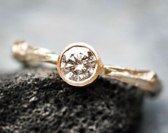 Salt and Pepper Diamond in Gold Twig Ring- made to order