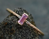 Pink Sapphire Baguette in Recycled 14 Gold Ring- ON HOLD