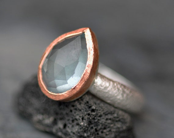 Large Rose Cut Aquamarine on Reticulated Sterling Silver Ring with Rose Gold- Made To Order