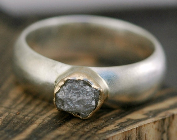 Rough Diamond, Sterling Silver, and Gold  Ring- Made to Order with Conflict Free Raw Diamond