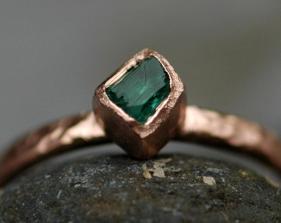 Raw Rough Uncut Colombian Emerald on Recycled 14k or 18k Yellow, Rose, or White Gold Ring- Hammered Band- Made to Order
