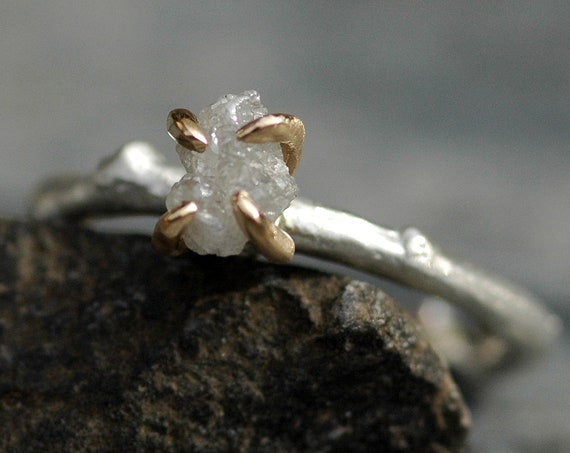 Raw Diamond Sterling Silver and Yellow Gold Branch Ring- Ready to Ship Engagement Ring