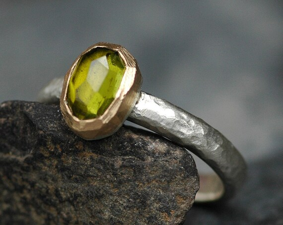 Olive Green Tourmaline Crystal on Sterling Silver Ring with Yellow Gold- Ready To Ship Size 7.5