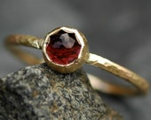 ON SALE Rose Cut Raspberry Pink Tourmaline in Textured Hammered Recycled 14k Yellow Gold- Ready to Ship