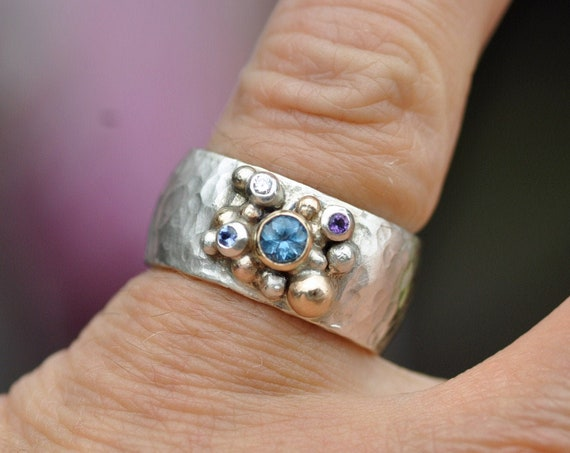 Multistone Aquamarine, Sapphire, Diamond, and Amethyst on Rose/Yellow Gold and Sterling Silver Hammered Band- Made to Order