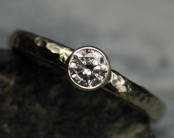 Half-carat Salt and Pepper Diamond in 14k Recycled White Gold Ring- Ready to Ship