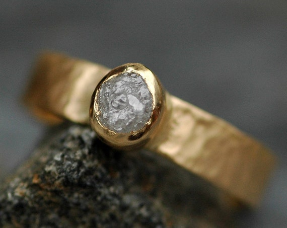 Recycled 18k Yellow, White, or Rose Gold and Raw Conflict Free Diamond Ring- Custom Made Listing