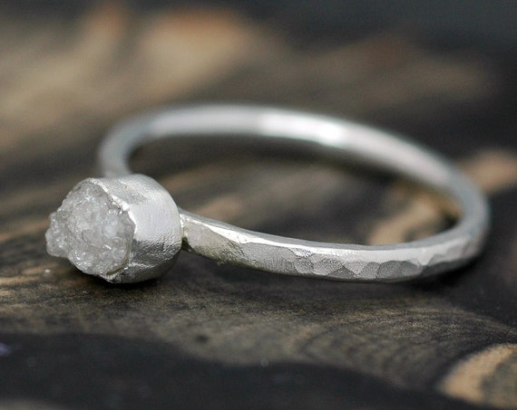 Rough Diamond Stacker Engagement Ring in Hammered Sterling Silver- Made to Order