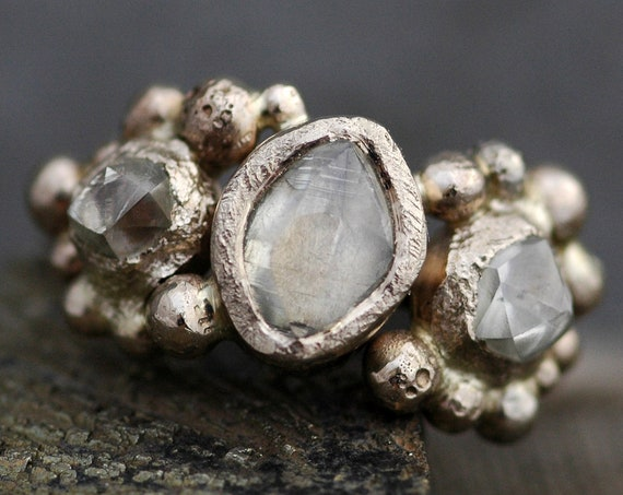 Raw Rough Diamond Trio in Recycled Gold- Custom Made to Order Uncut Diamond Engagement Ring