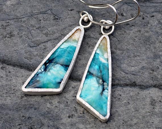 Blue Opalized Wood Silver Dangle Earrings- Ready to Ship