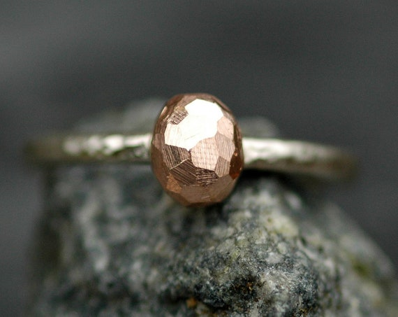 Alternative Diamond  Ring- Thick Hammered Sterling 14k White Gold Ring with Rose Gold Diamond- Reserved