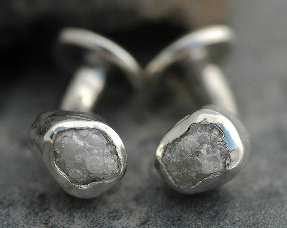 Rough Diamond Cuff Links Raw Conflict Free Diamond Cufflinks for French Cuffs Made to Order