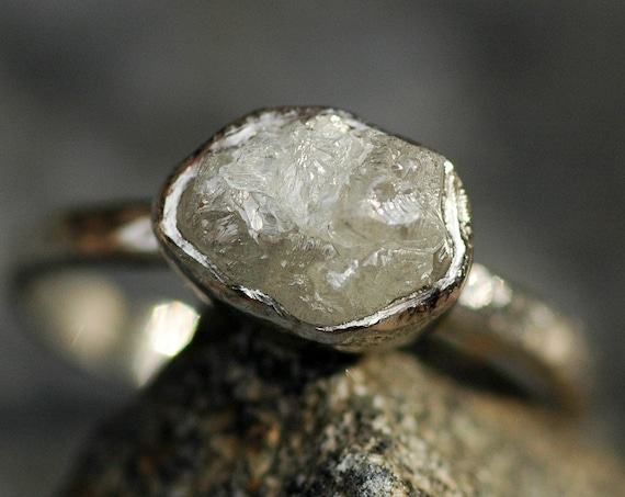 SALE- Raw Rough Conflict Free Platinum Diamond Engagement Ring with Hammered Band- Ready To Ship Size 5.5- 5.75