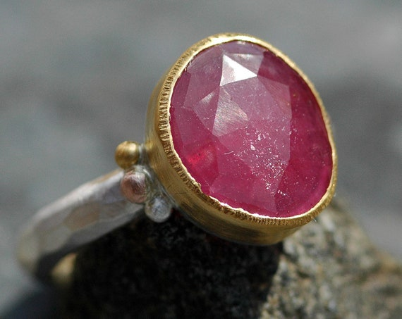 Rose Cut Sapphire in Sterling Silver, Rose Gold, and 22k Yellow Gold Mixed-Metal Ring- Choose Your Sapphire