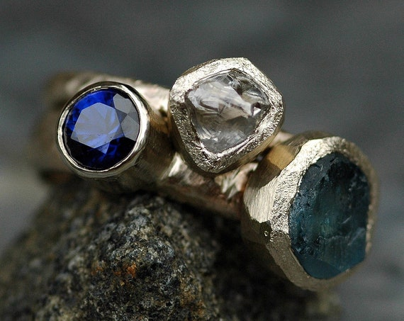 Multistone Recycled 18k Gold Stacking Engagement and Wedding  Ring Set- Rough Diamond, Aquamarine, and Sapphire