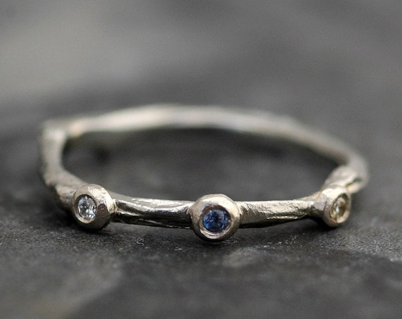 Montana Yogo Sapphire, Diamond and 14k Gold Branch Ring- Twig Band, Custom Made Wedding or Engagement Ring in Yellow, White, or Rose Gold