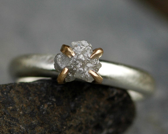 Yellow Gold and Brushed Sterling Silver Rough Diamond Ring- Ready to Ship