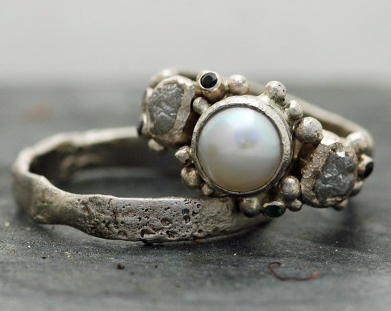Reticulated Recycled White Gold Pearl Rough Diamond and Colored Precious Gemstone Ring- Custom Made to Order Moon Textured Wedding Band