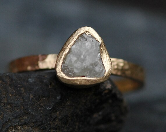 Conflict Free Rough Large Diamond Engagement Ring in Recycled 14k Yellow Gold- 1.3 Carat Diamond Ready to Ship Size 7.25
