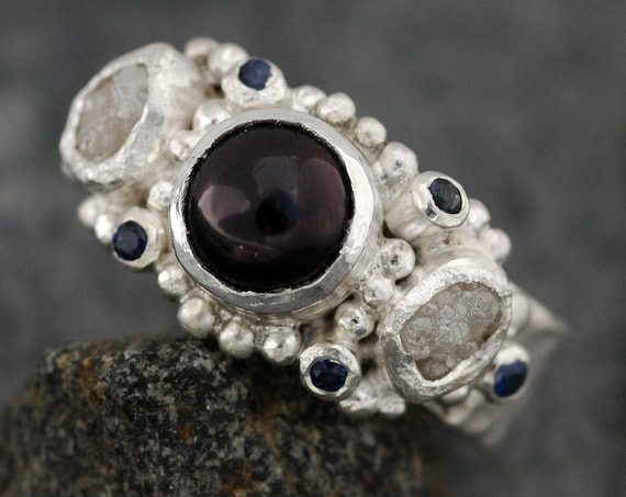 Rough Diamond, Sapphire and Black Pearl Engagement Ring- Ready to Ship Size 8