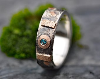 Blue Diamond in Sterling Silver and Rose Gold Band- Ready to Ship