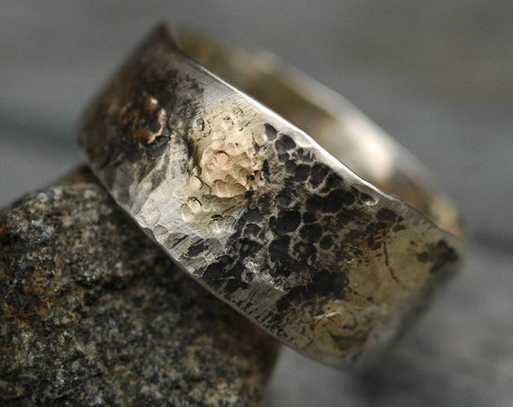 Sterling Silver and Yellow/Rose Gold Band  Made To Order Mixed Metal Ring Wedding Band