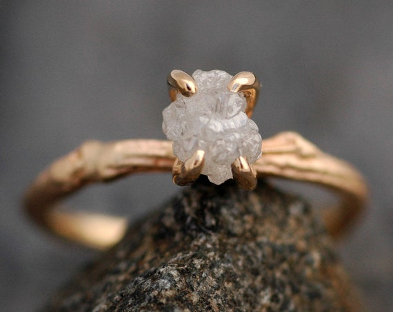 Rough Diamond and 14k Gold Branch Ring- Twig Band, Custom Made Wedding Engagement Ring in Yellow, White, Rose Gold with  Rough Uncut Stone