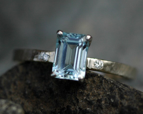 Aquamarine and diamond in Recycled White Gold Ring- size 8.5, ready to ship