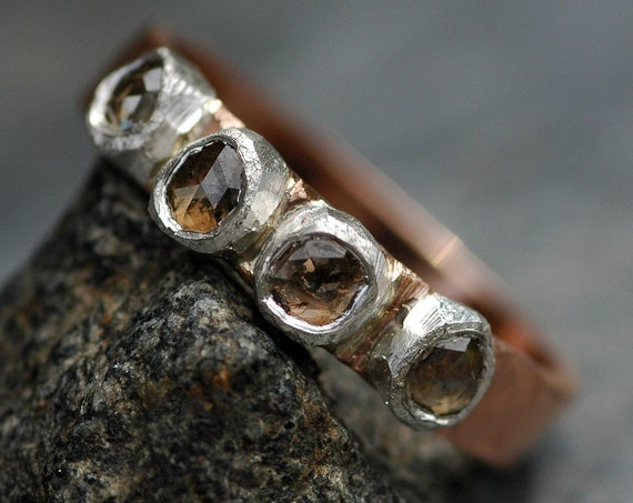 Recycled 14k Rose Gold, Fine Silver, and Cognac Rose Cut Diamond Slice Ring- Ready to Ship size 7.5