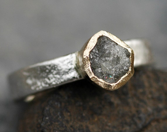 Yellow Gold and Reticulated Sterling Silver Rough Diamond Ring- Ready to Ship