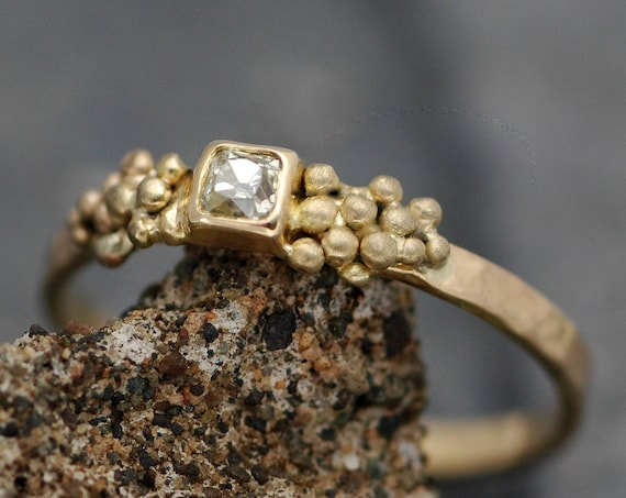 Antique 1800's Old Mine Cut Miner Cut Diamond in 18k Recycled Gold Ring- Vintage Victorian Era Diamond- Made to Order Engagement Ring