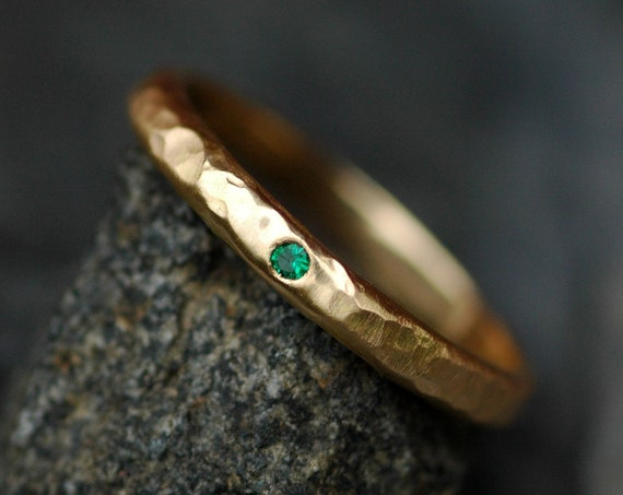 Gold Stacking Ring Wedding Band with Emerald 14k or 18k Recycled Yellow White or Rose Gold