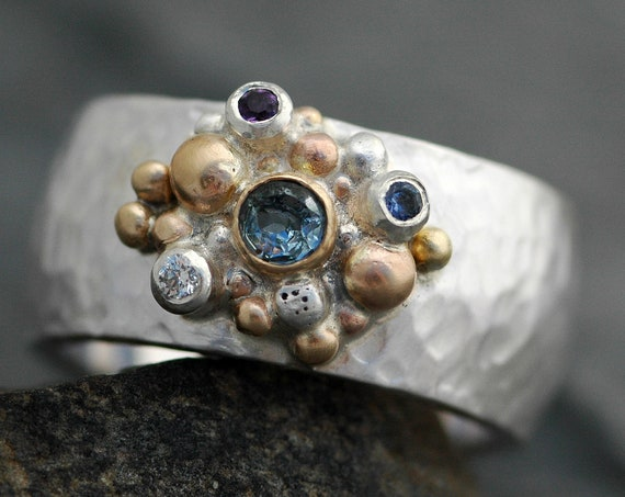 Multistone Ring- Aquamarine, Diamond, Amethyst, and Montana Sapphire in Recycled 14k Rose, Yellow Gold and Silver Hammered Band- Size 7