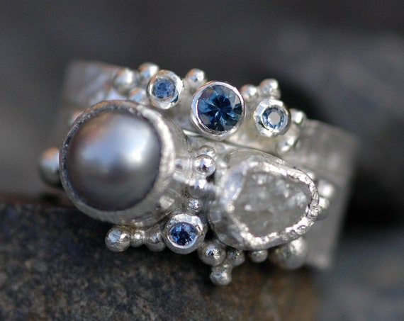 Montana Sapphires, Raw Diamond, and Japanese Saltwater Pearl in Silver Gold Platinum Two Ring Bridal Set- Custom Made