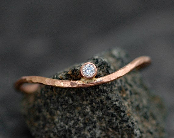 Hammered Wave Ring- White Diamond in Recycled 14k Rose Gold Ring- Ready to Ship Size 7.5 Ring