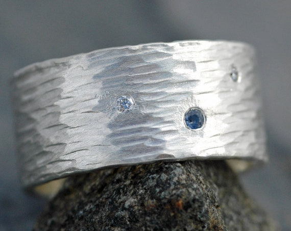 Hammered Sterling Silver Ring with Flush Set Yogo Gulch Sapphire and Diamond Melee- Built To Order
